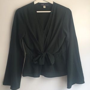 Forest Green Front Tie Bell Sleeve Blouse